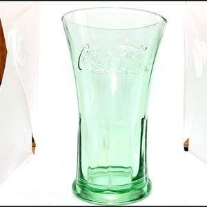 Vintage Green Wide Opening Coca Cola Glass Cup